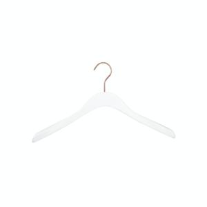 Umerașe din lemn alb, pentru jachete, cu cârlig cromat rosegold Umerase