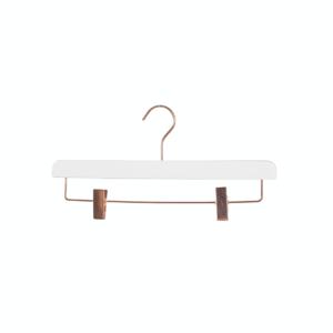 Umerașe din lemn alb, pentru pantaloni/fuste cu cleme reglabile, cu cârlig cromat rosegold Umerase