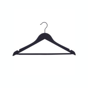 Umerașe din lemn negru, cu margine curbata, cu crestături + bară pantaloni Umerase
